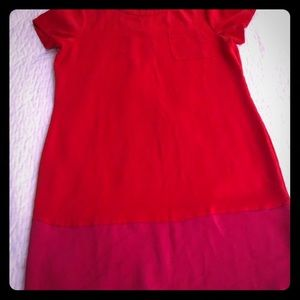 Pink and red silky sheath dress